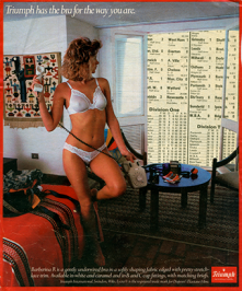 Images of women casually getting on with day to day activities whilst wearing only underwear seem an incongruous representation of women. The introduction of a more traditional male image, the football results and table, is an attempt to question this representation and consider if these images are for male consumption.