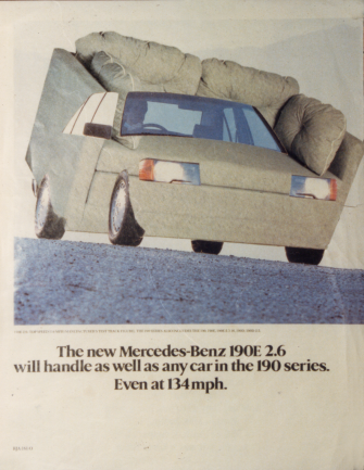 """The relentless advertisements for cars is not only creating reward for status it is reinforcing a society where the car is central to 'need' and a system organized for us to need to be 'somewhere else"""". The introduction of the settee as a symbol for resting at home is an attempt to question this central assumption."""